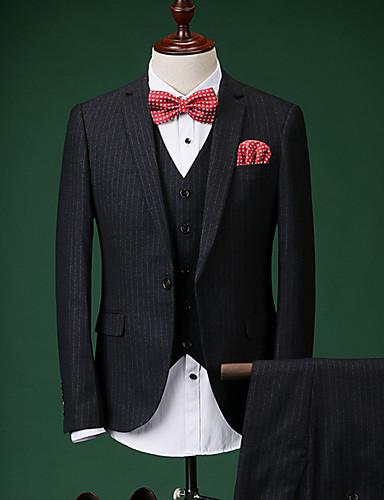 Bărbați Petrecere / Zilnic Primăvara & toamnă Regular Costume, Dungi Rever Clasic Manșon Lung Poliester Negru 52 / 54 / 56 / Ocazional afaceri / Zvelt