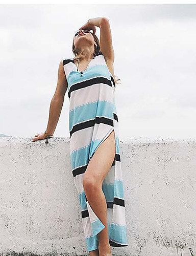 זול שמלות נשים-לב (סוויטהארט) מקסי פסים - שמלה ישרה בוהו חוף בגדי ריקוד נשים