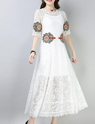 Damskie Podstawowy Rekaw z falbanami Shift Sukienka - Jendolity kolor, Plisy Do kolan Czarno-biały