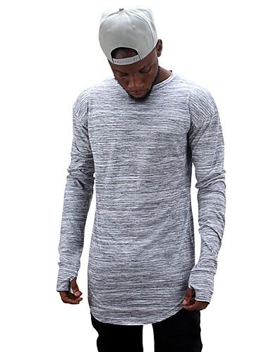 T-shirt Męskie Podstawowy Bawełna Okrągły dekolt Solidne kolory / Długi rękaw