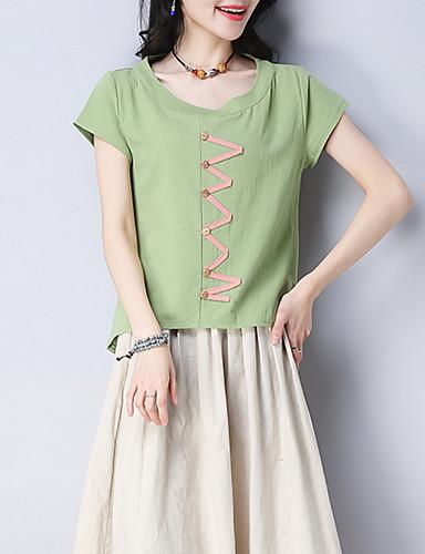 t-shirt damski - geometryczny okrągły dekolt