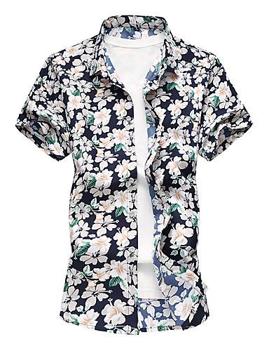 Bărbați Guler Clasic - Mărime Plus Size Cămașă Floral / Va rugăm selectați cu o mărime mai mare decât purtați. / Manșon scurt