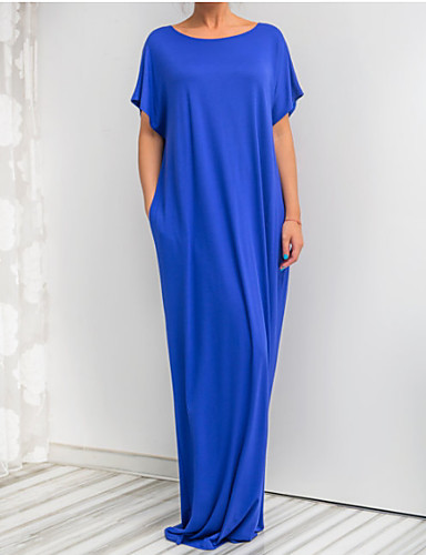 voordelige Maxi-jurken-Dames Strand Standaard Ruimvallend Tuniek Jurk - Effen, Patchwork Maxi