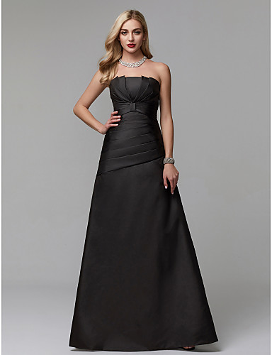 cheap Black Dresses-A-Line Strapless Floor Length Satin Prom / Formal Evening Dress with Pleats by TS Couture®