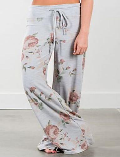 Pentru femei Activ Mărime Plus Size Bumbac Picior Larg Pantaloni - Franjuri, Mată Albastru & Alb