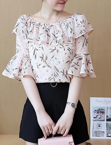 bluza pentru femei - gât rotund floral