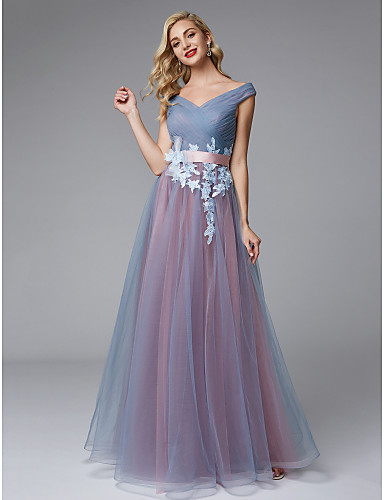 A Line Off Shoulder Floor Length Lace Tulle Color Block Prom