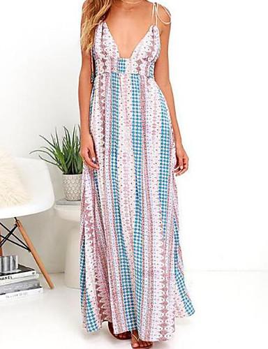 voordelige Maxi-jurken-Dames Grote maten Vintage Pofmouw Katoen Recht Jurk - Effen, Geplooid Maxi Zwart & Rood