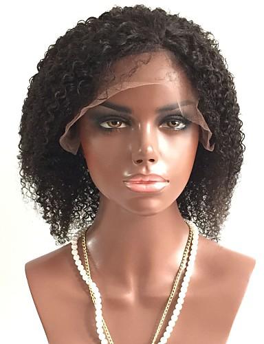 billige Blondeparykker med menneskehår-Ubehandlet hår Blonde Forside Parykk Lagvis frisyre Rihanna stil Brasiliansk hår Krøllet Svart Parykk 130% Hair Tetthet med baby hår Afroamerikansk parykk Dame Kort Blondeparykker med menneskehår