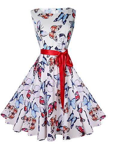 billige Kjoler-Dame Vintage Tynn A-linje Kjole - Dyr, Trykt mønster Ovenfor knéet Sommerfugl