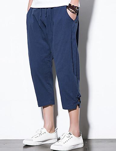 Bărbați De Bază / Chinoiserie Mărime Plus Size Bumbac Larg Harem / Pantaloni Scurți Pantaloni - Mată Roșu Vin