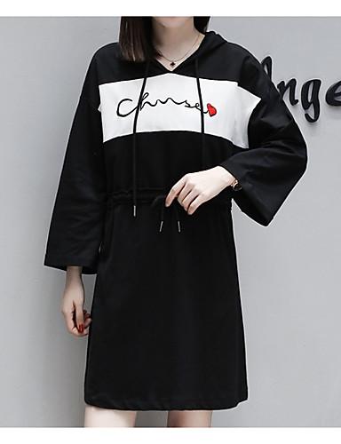 abordables Robes Femme-Femme Au dessus du genou Ample Tee Shirt Robe Noir Rouge XXL XXXL XXXXL Coton Demi Manches
