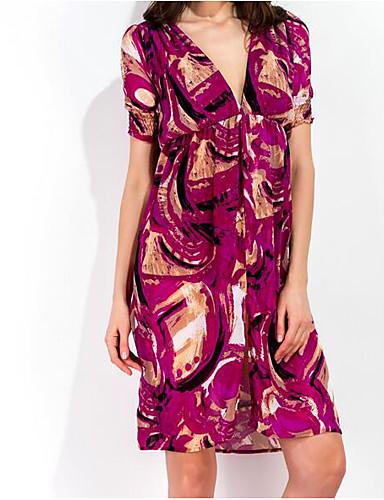 Pentru femei Mărime Plus Size Vintage Bumbac / Piele Artificială Mâneci Bufante Shift Rochie - Plisată, Mată / Geometric Lungime Genunchi Negru & Roșu