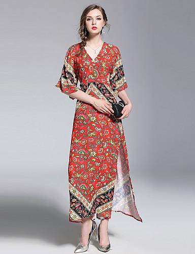 Pentru femei Boho / Șic Stradă Sleeve Flare Swing Rochie - Imprimeu, Floral Maxi