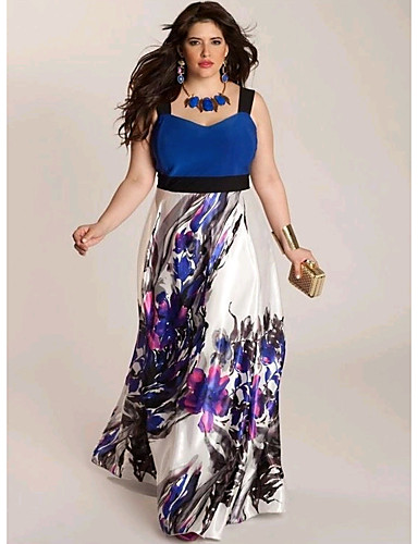 cheap Women's Plus Size Dresses-Women's Going out Beach Maxi Sheath Sundress Strap Blue Red XXL XXXL XXXXL
