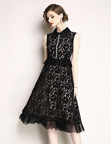 Pentru femei Șic Stradă / Sofisticat Linie A / Little Black Rochie - Dantelă / Ștrasuri, Mată Midi