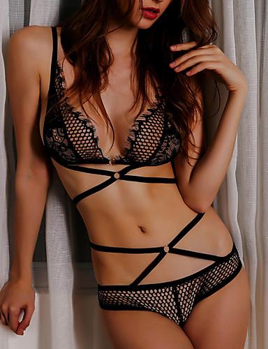 Pentru femei Sexy Bretele Asortate Pijamale - Dantelă Mată