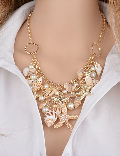 f0208536ab3a Mujer Multi capa Collares con colgantes Perla Artificial Concha Estrella de mar  Concha damas Clásico Dorado 46+5 cm Gargantillas Joyas 1pc Para Bikini