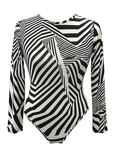 abordables Hauts pour Femme-Le maillot de corps Femme, Rayé Imprimé Soirée Basique Mince Noir & Blanc Noir