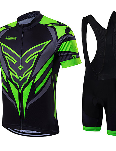21Grams Men s Short Sleeve Cycling Jersey with Bib Shorts - Green   Black Bike  Clothing Suit 6cad246b6