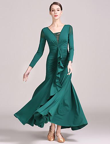 272028d7b3a7 Ballroom Dance Dresses Women's Training / Performance Lace / Tulle / Ice  Silk Draping / Ruching / Split Joint Long Sleeve High Dress