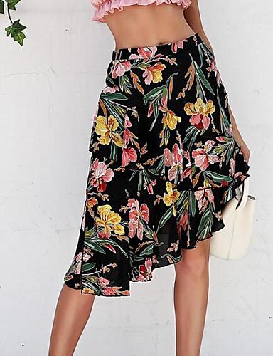 66c5550d03 Women's Going out Asymmetrical A Line Skirts - Floral High Waist Black