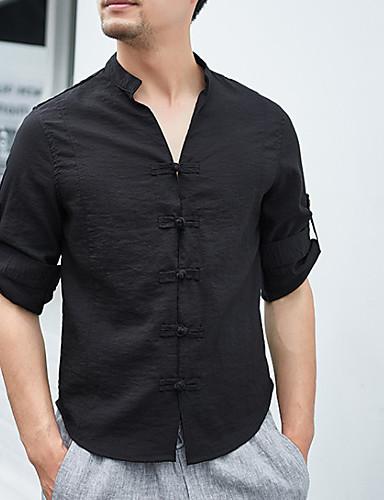 cămașă pentru bărbați - gât v colț solid