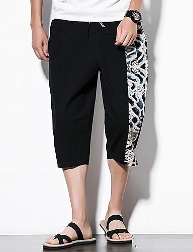 Bărbați Mărime Plus Size Bumbac Picior Larg Pantaloni Bloc Culoare