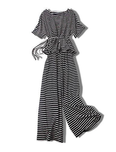 Pentru femei Mărime Plus Size Mâneci Bufante Bumbac Activ Set - Mată / Dungi, Pantaloni Plisată