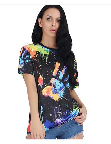 Pentru femei Mărime Plus Size Tricou Ieșire Bumbac De Bază - Floral Imprimeu / Vară / Zvelt