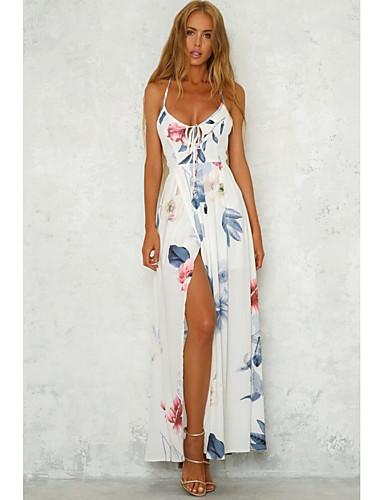 hesapli Maksi Elbiseler-Kadın's Çan Elbise Askılı Maksi