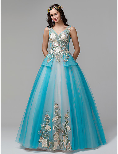 810b5f944af Ball Gown V Neck Floor Length Lace   Tulle Formal Evening Dress with  Embroidery by TS Couture®