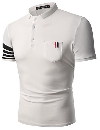 Bărbați Guler Cămașă - Mărime Plus Size Polo Bumbac Dungi / Va rugăm selectați cu o mărime mai mare decât purtați. / Manșon scurt
