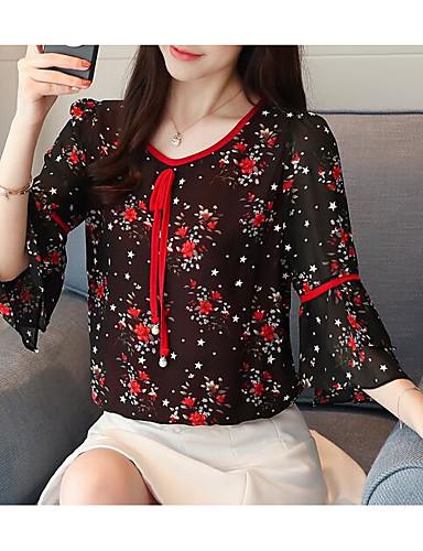 povoljno Ženske majice-Bluza Žene Dnevno Geometrijski oblici V izrez Crn / flare rukav