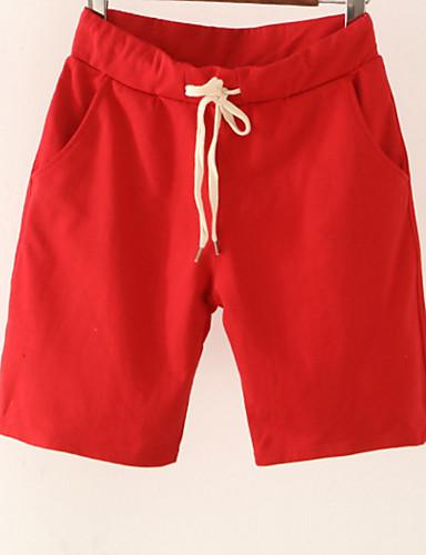 Pentru femei Bumbac Pantaloni Chinos / Pantaloni Scurți Pantaloni - Mată Talie Înaltă Negru