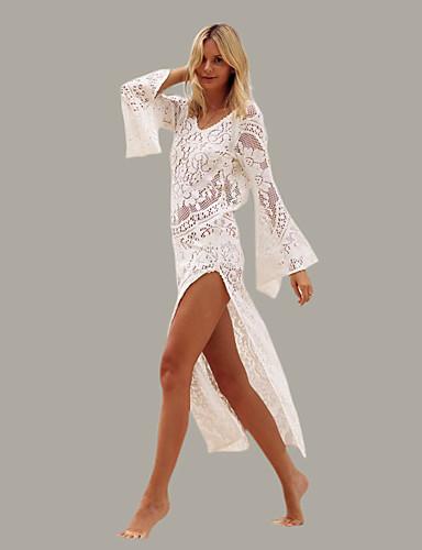 voordelige Maxi-jurken-Dames Strand Flare mouwen Slank Schede / Tuniek / Wijd uitlopend Jurk Blote rug Diepe U-hals Maxi / Super Sexy