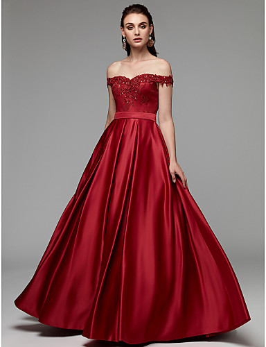 b4be8a8378f cheap Evening Dresses-A-Line Off Shoulder Floor Length Lace   Satin Prom