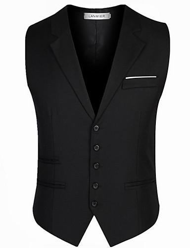 voordelige Herenblazers & kostuums-Heren Dagelijks Normaal Vest, Effen V-hals Mouwloos Polyester Zwart / Grijs