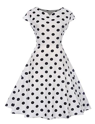 63e1086761644 Women's Daily / Weekend Vintage Batwing Sleeve Slim Swing Dress - Polka Dot  Print Boat Neck