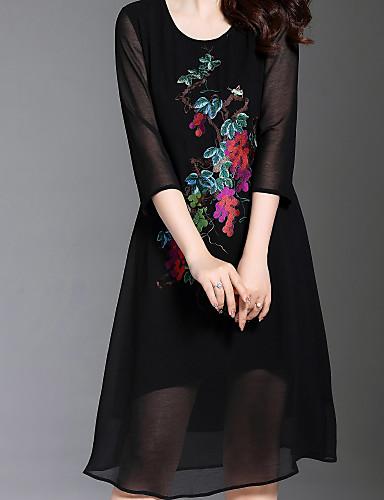 Žene Osnovni Korice Haljina Jednobojni / Cvjetni print Do koljena
