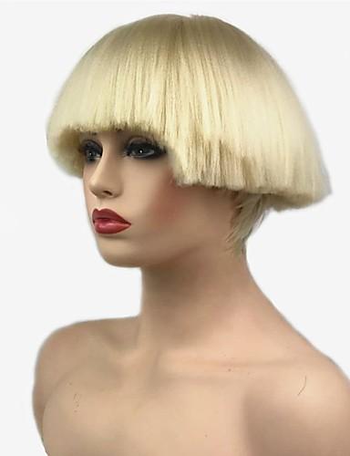 זול סלבריטאים פאות-פאות סינתטיות ישר Kardashian סגנון תספורת בוב ללא מכסה פאה שחור בלונדינית לבן שחור שיער סינטטי בגדי ריקוד נשים סינטטי שחור / לבן פאה קצר StrongBeauty