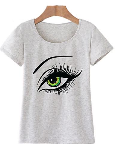 billige Topper til damer-Bomull T-skjorte Dame - Portrett, Trykt mønster Grunnleggende Ut på byen Lysegrønn L