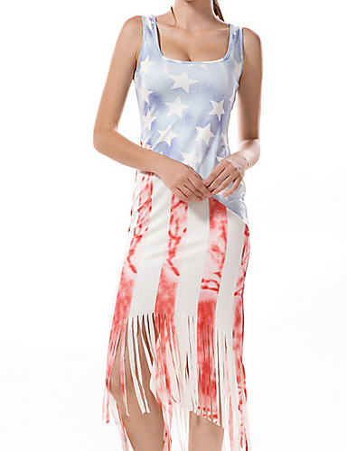 Žene Osnovni Pamuk Slim Bodycon Haljina - Čipka / Otvorena leđa / Kolaž, Geometrijski oblici / Color block S naramenicama Midi / Ljeto