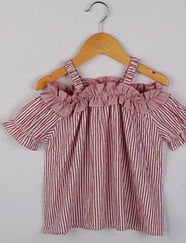 2019 Nuovo Stile Bambino Da Ragazza Essenziale Quotidiano A Strisce Con Stampe Manica Corta Standard Cotone T-shirt Rosso #06819509
