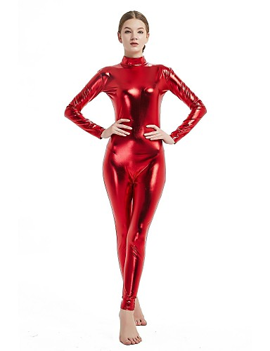 Zentai Suits Catsuit Skin Suit Adults' Cosplay Costumes Sex Red Solid Colored Spandex Lycra Elastic Men's Women's Halloween Carnival Masquerade / High Elasticity