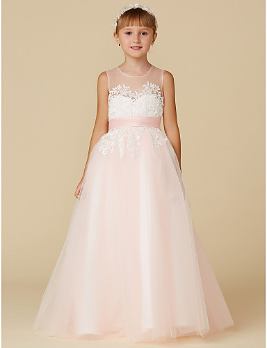 7d5af7a937 Princess Floor Length Flower Girl Dress - Lace   Tulle Sleeveless Jewel  Neck with Appliques   Sash   Ribbon by LAN TING BRIDE®