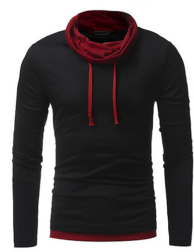 Erkek Yuvarlak Yaka Tişört Solid Siyah / Uzun Kollu