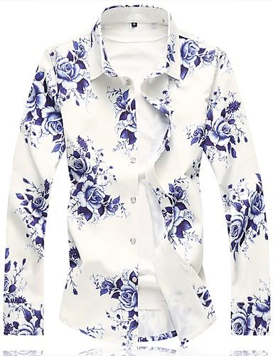 voordelige Herenoverhemden-Heren Chinoiserie Overhemd Katoen Bloemen blauw / Lange mouw / Zomer