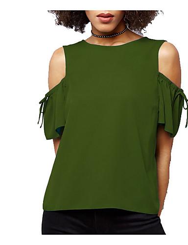 billige Dametopper-Bomull Puffermer T-skjorte Dame - Ensfarget, Dusk Vintage Svart og hvit Svart