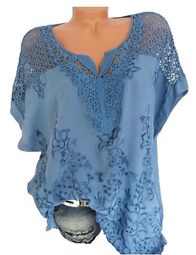 billige Dametopper-Løstsittende V-hals Skjorte Dame - Ensfarget, Blonde Grunnleggende Svart / Sommer